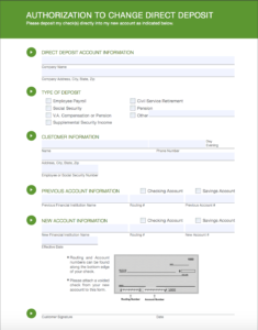 switching account direct deposit form
