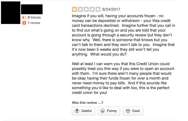 An example of a consumer complaint that would pose risk to a community bank or credit union even if they were not on social media