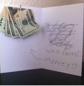 cash put in card as a gift