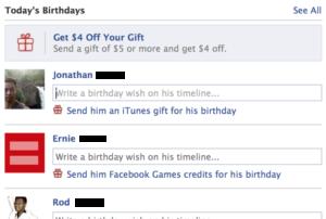 Facebook Birthday list