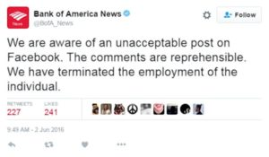 bank of america terminates an employee for social media comments