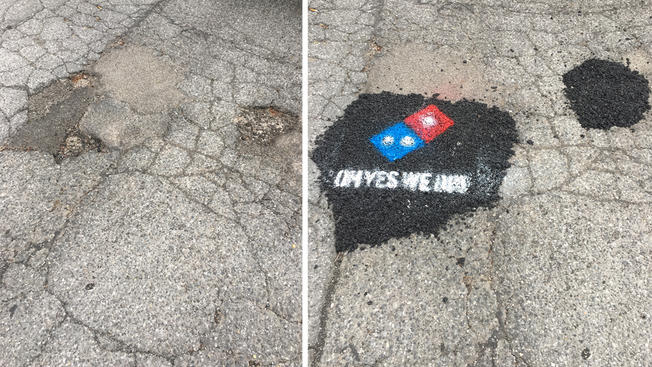 Dominos pizza avoids controversy with their social responsibility campaign to fix potholes in communities.