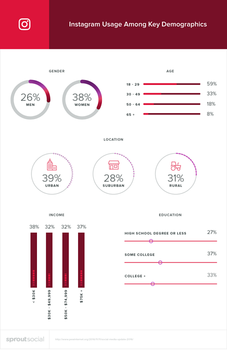 Instagram usage among key demographics