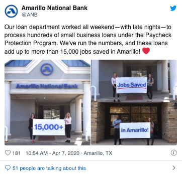 Amarillo National Bank saves jobs with small business loans under the paycheck protection program