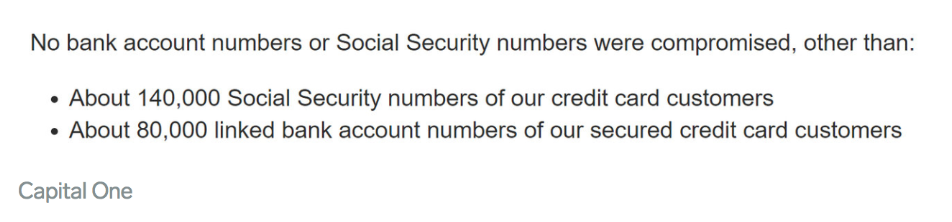 capital one's response to their data breach